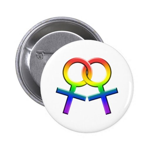 Connected Rainbow Female Symbols Button 03