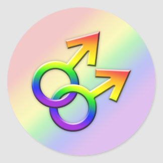 Connected Rainbow Male Symbols Stickers 01
