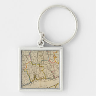 Connecticut 10 Silver-Colored square key ring