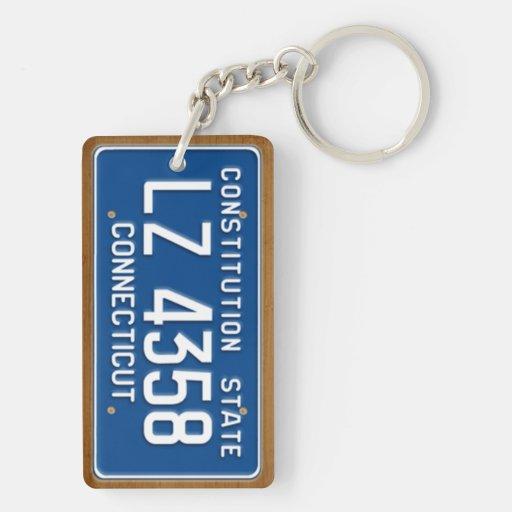 Connecticut 1976 Vintage License Plate Keychain Acrylic Key Chain