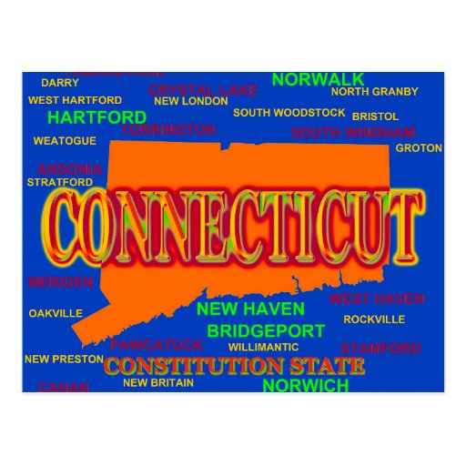 Connecticut Cities and Towns State Pride Map Post Cards