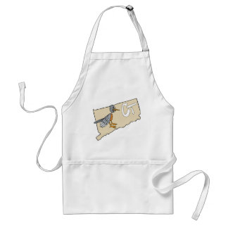 Connecticut CT Map & Red Robin Cartoon Adult Apron