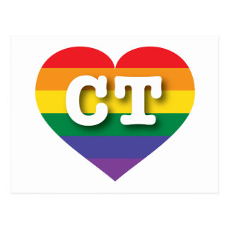 Connecticut CT rainbow pride heart Postcard