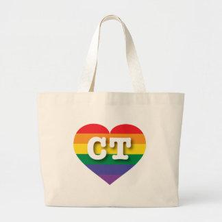 Connecticut CT rainbow pride heart Bag