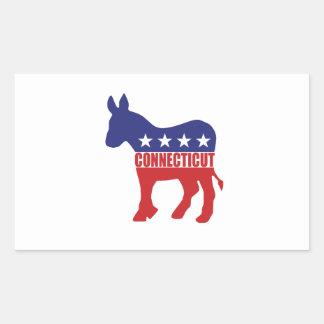 Connecticut Democrat Donkey Rectangular Sticker