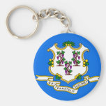 Connecticut Flag Basic Round Button Key Ring