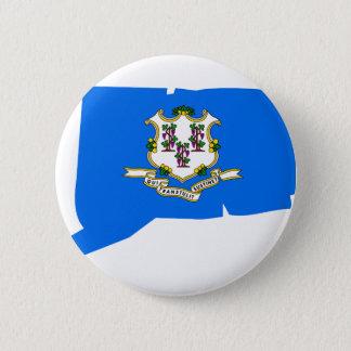 Connecticut Flag Map 6 Cm Round Badge