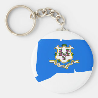 Connecticut Flag Map Key Ring