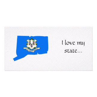 Connecticut Flag Map Picture Card