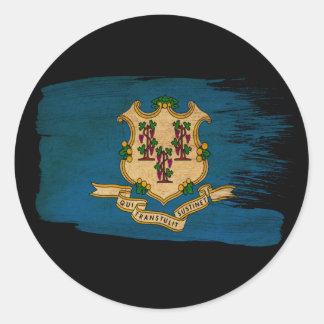 Connecticut Flag Round Sticker