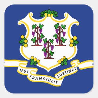 Connecticut Flag Square Sticker