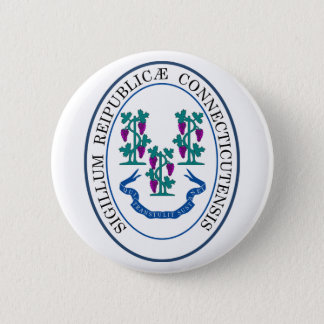 Connecticut Great Seal 6 Cm Round Badge
