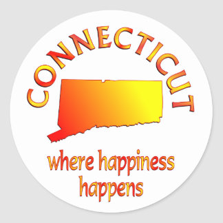 CONNECTICUT Happiness Round Sticker