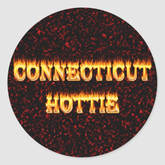 connecticut hottie fire and flames round sticker