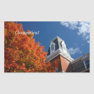 connecticut in autumn rectangle stickers