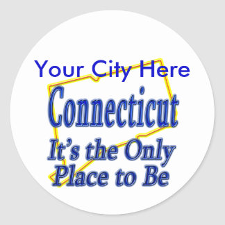 Connecticut  It's the Only Place to Be Round Sticker