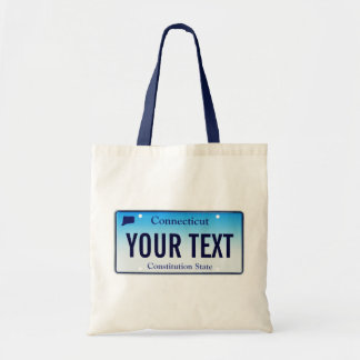 Connecticut license plate tote bag