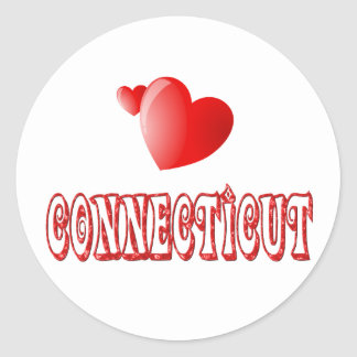 Connecticut Love Round Stickers