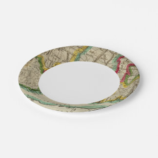 Connecticut Map 7 Inch Paper Plate