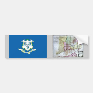 Connecticut Map and State Flag Bumper Sticker