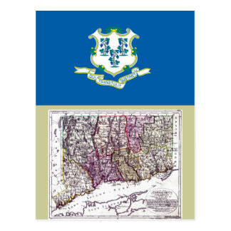 Connecticut Map and State Flag Postcard