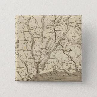 Connecticut Map by Arrowsmith 15 Cm Square Badge