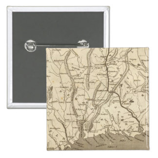 Connecticut Map by Arrowsmith 15 Cm Square Badge