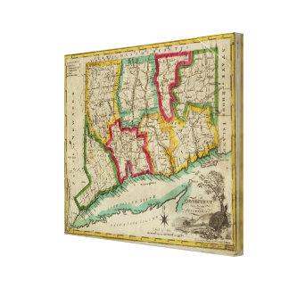 Connecticut Map Canvas Print