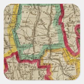 Connecticut Map Square Sticker