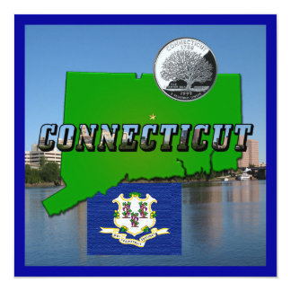 Connecticut' Map, Text, Quarter, Flag and Scenery 13 Cm X 13 Cm Square Invitation Card