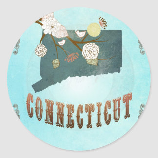 Connecticut Map With Lovely Birds Round Sticker