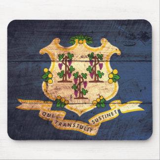 Connecticut old wooden flag souvenir mouse pad