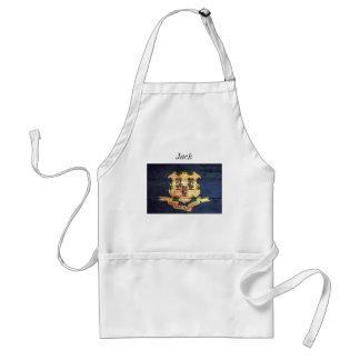 Connecticut old wooden flag souvenir standard apron
