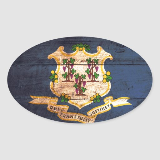 Connecticut old wooden flag souvenir oval stickers