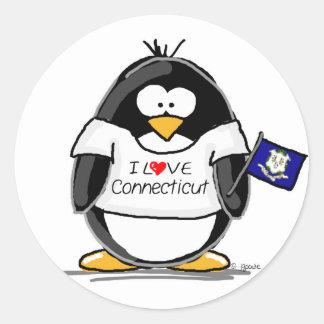Connecticut Penguin Round Sticker