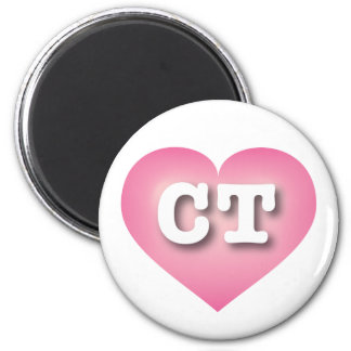 Connecticut pink fade heart - capital CT 6 Cm Round Magnet