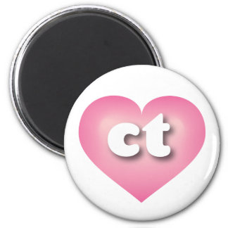 Connecticut pink fade heart - lower case ct 6 cm round magnet