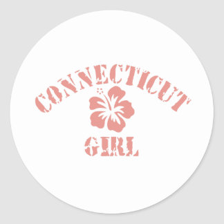 Connecticut Pink Girl Stickers