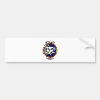 Connecticut Proud Flag Button Bumper Sticker