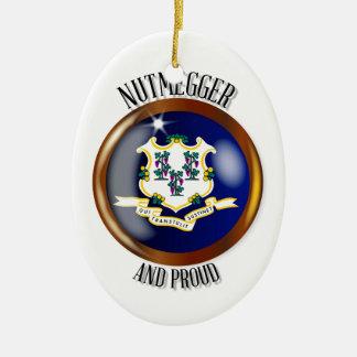 Connecticut Proud Flag Button Christmas Ornament