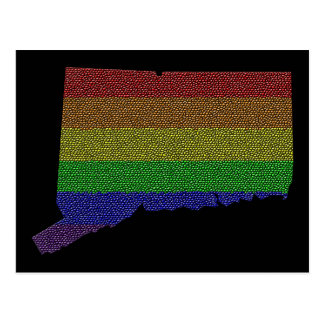 Connecticut Rainbow Pride Flag Mosaic Postcard