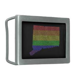 Connecticut Rainbow Pride Flag Mosaic Rectangular Belt Buckles