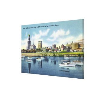 Connecticut River View of the Hartfort Skyline Canvas Print