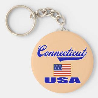 Connecticut Script Basic Round Button Key Ring