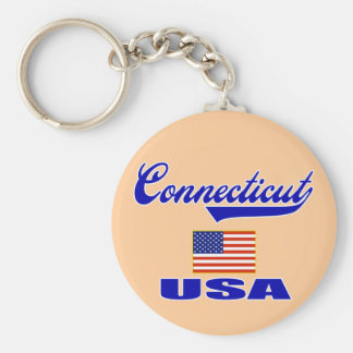 Connecticut Script Key Ring