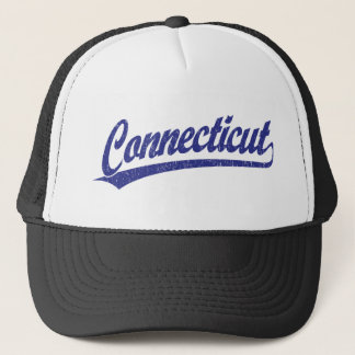 Connecticut script logo in blue trucker hat