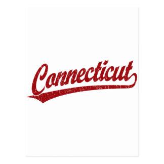 Connecticut script logo in red postcard