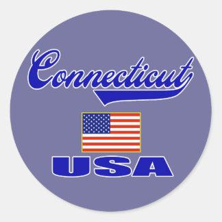 Connecticut Script Round Sticker