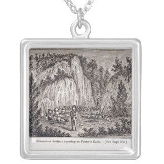 Connecticut Soldiers Reposing on Porter's Rock Silver Plated Necklace