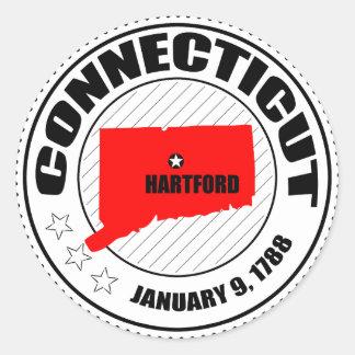 Connecticut Stamp Round Sticker